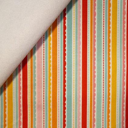 Fabric Felt :: Happy Day :: Multi Scallop Stripes on White