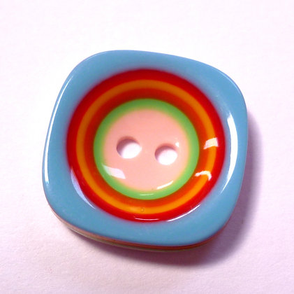 Rainbow Stripe Button :: Square Hollow