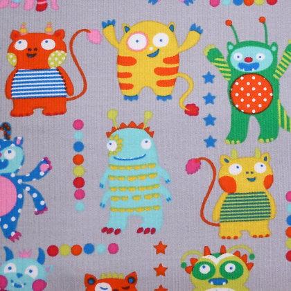 Fabric :: Corduroy :: Monsters On Grey