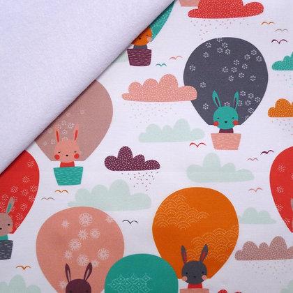 Artisan Fabric Felt :: Bunnies in Balloons on White