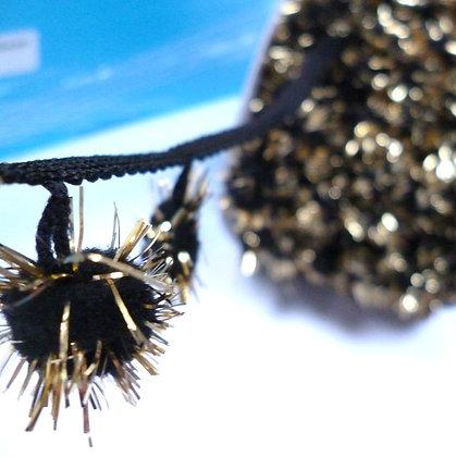 Large Tinsel Pom Pom Trim :: Black & Gold