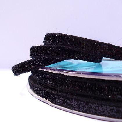 5mm Glitter Velvet Ribbon :: Black