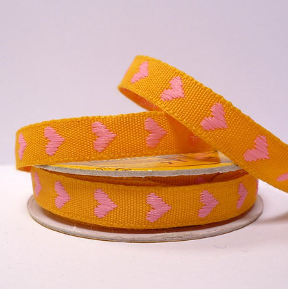 2m Spool :: Woven Hearts :: Yellow & Pink