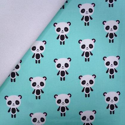 Fabric Felt :: Zoologie :: Aqua Large Pandas on White