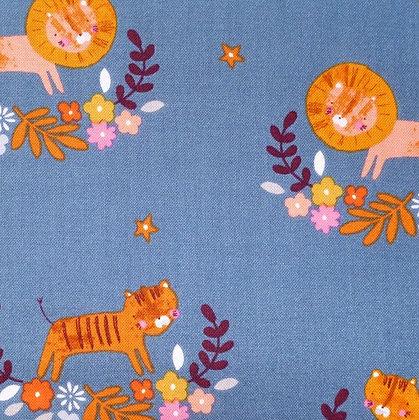 Fabric :: Meadow Safari :: Teal Lions & Tigers