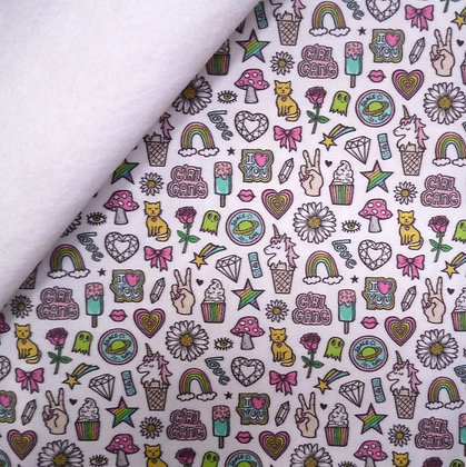 Artisan Fabric Felt :: 80's Patches on Whte