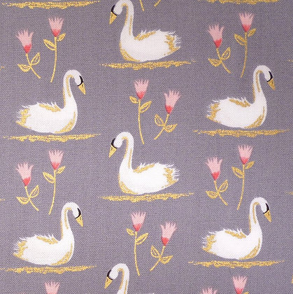 Fabric :: Swans A Swimming :: Pewter
