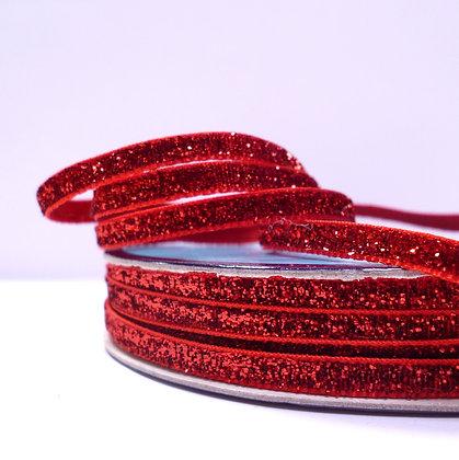 5mm Glitter Velvet Ribbon :: Bright Red