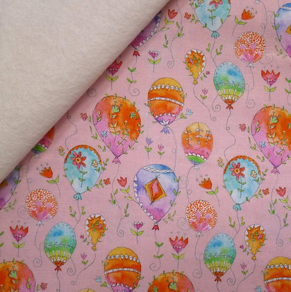 Fabric Felt :: Waltz of Whimsy ::Pink Pixie Balloons on Natural