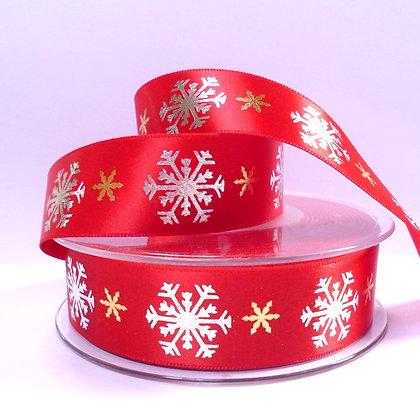 Satin Snowflakes Ribbon :: Red