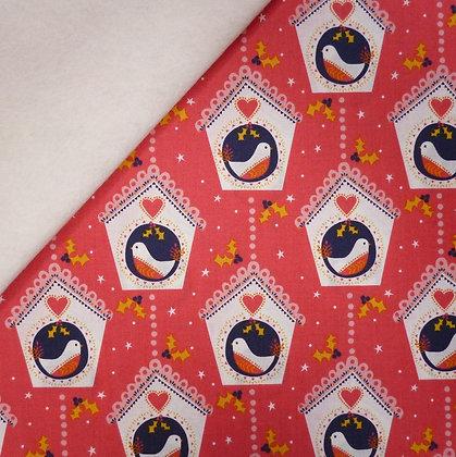 Fabric Felt :: Merry Little Christmas :: Bird Houses on Natural LAST FEW