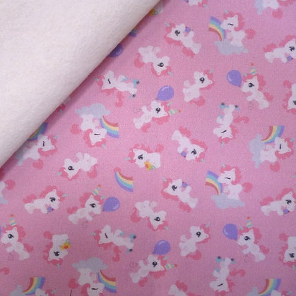 Artisan Fabric Felt :: Cute Baby Unicorns (pink) on Natural