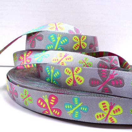 Embroidered Ribbon :: Silver Butterflies