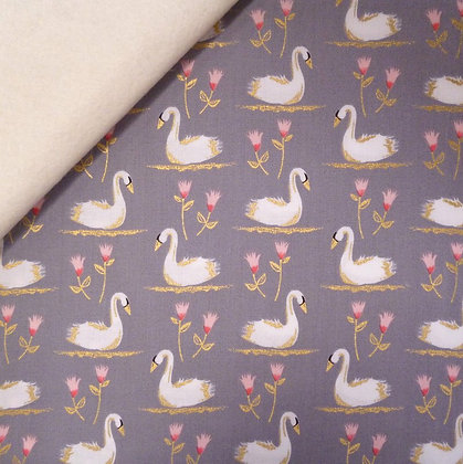 Fabric Felt :: Swans A Swimming:: Pewter on Natural