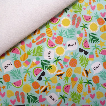 Artisan Fabric Felt :: Tropical Summer (Turquoise) on White