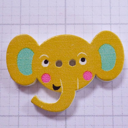 Wooden Elephant Face Button :: Yellow