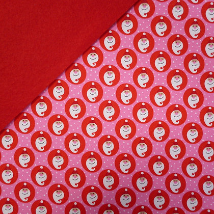 Fabric Felt :: Copenhagen Red & Pink Santas on Red
