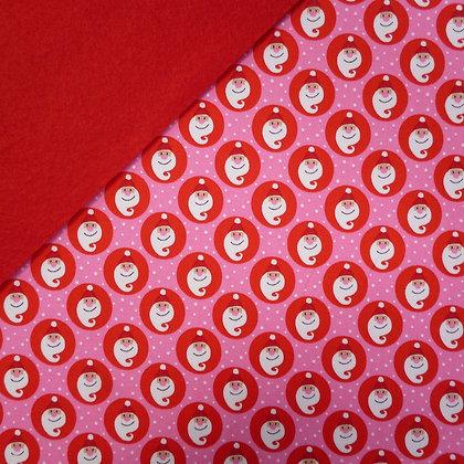 Fabric Felt :: Copenhagen Red & Pink Santas on Red LAST FEW