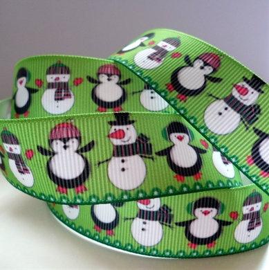 Christmas Grosgrain Ribbon :: Snowman & Penguin