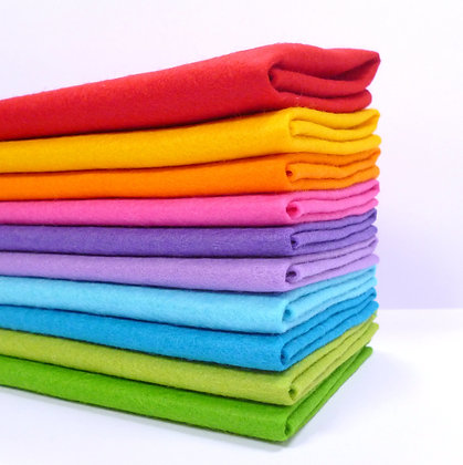 RAINBOW BRIGHT Premium Wool Felt Colour Pack