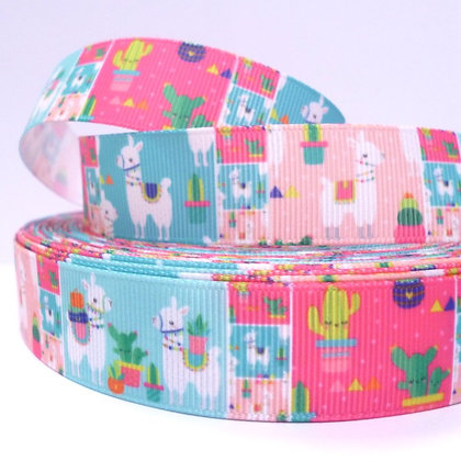 Cute Grosgrain Ribbon :: Llama & Cacti Blocks