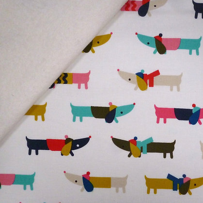 Fabric Felt :: Merry and Bright :: Dogs on Natural