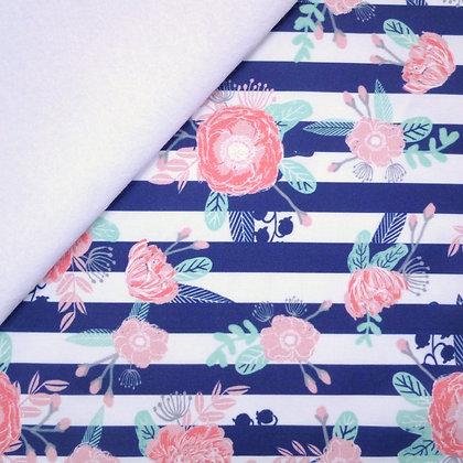Artisan Fabric Felt :: Floral  Navy Stripe on White