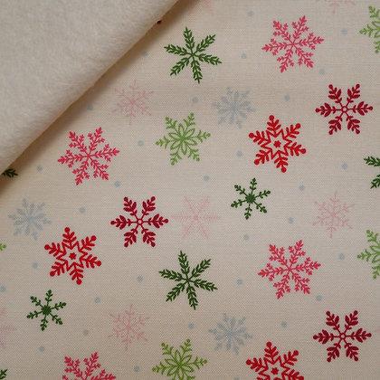 Fabric Felt :: Merry/Bright :: Cream Snowflake on Natural