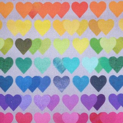 FQ SALE Fabric :: Shine Bright Rainbow Hearts FAT QUARTER