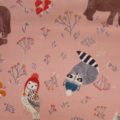 Fabric :: Dreaming of Snow :: Blush Cosy Animals