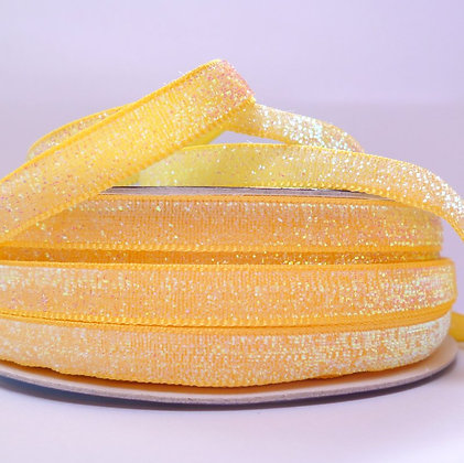 10mm Glitter Velvet Ribbon :: Pastel Yellow
