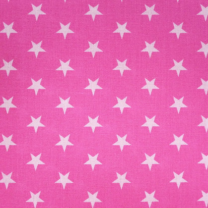 Fabric :: Wide :: White Stars on Bright Pink