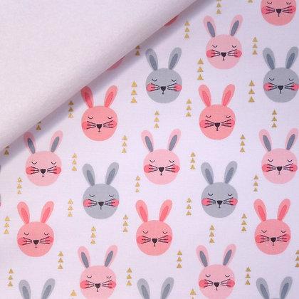 Fabric Felt :: Ruminating Rabbits on White