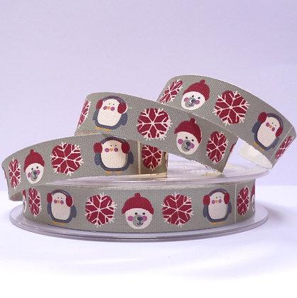 Cotton Christmas Ribbon :: Polar Bear & Penguin