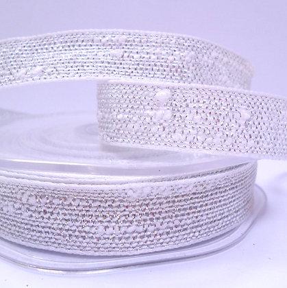 Woven Metallic Ribbon :: White & Silver