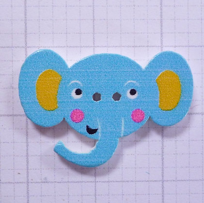 Wooden Elephant Face Button :: Turquoise