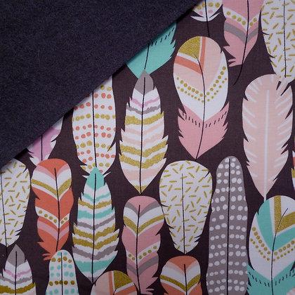 Fabric Felt :: Metallic Plucked Feathers on Charcoal