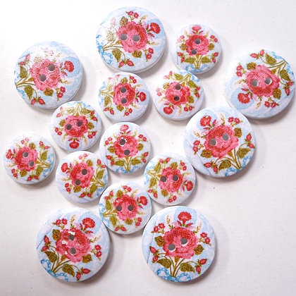 Wooden Button Pack :: Big Rose