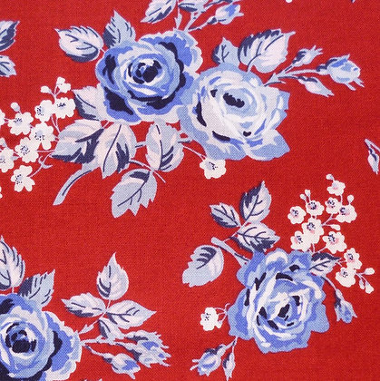 Fabric :: Fox Farm Flowers :: Roses on Red