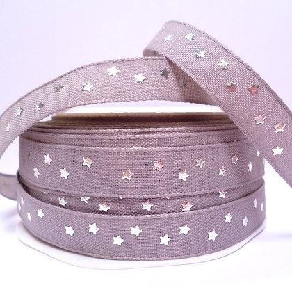 Cotton & Stars Ribbon :: Grey + Silver Stars