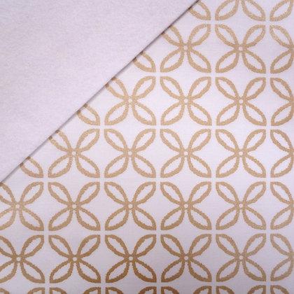 Fabric Felt :: Metallic Gold Clover on White