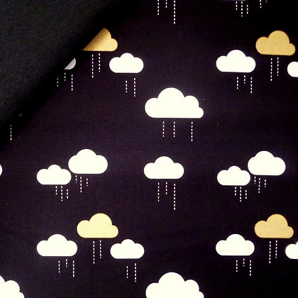 Fabric Felt :: When Skies Are Grey :: Black & Gold clouds on black