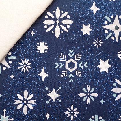 Fabric Felt :: Way Up North :: Snowflakes Navy on Natural