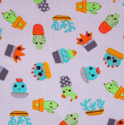 Fabric :: Wide :: Cute Cactus on Grey
