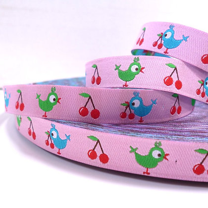 Embroidered Ribbon :: Birds & Cherries