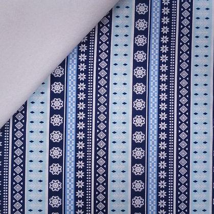Fabric Felt :: Snow Happy :: Snowflake Stripes on White