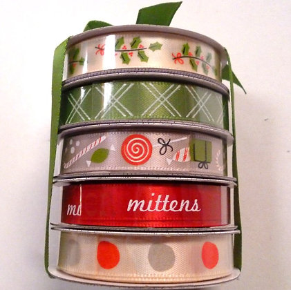 Ribbon Spool Stack :: Green Gift Bow
