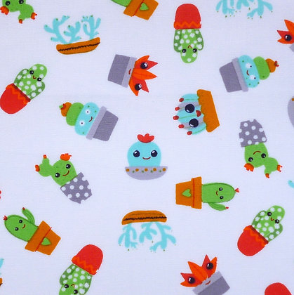 Fabric :: Wide :: Cute Cactus on White