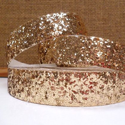 Chunky Glitter Ribbon :: 2.5cm Wide (by the m) :: Gold