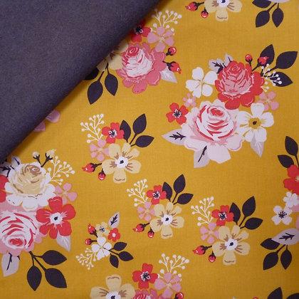 Fabric Felt :: Vintage Daydreams Large Mustard Floral on Charcoal LAST FEW
